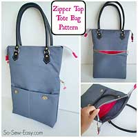 Zipper Top Tote Pattern by So Sew Easy in PDF