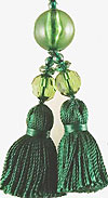 Beaded Tassel Zipper Pull in Jungle Green