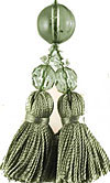 Beaded Tassel Zipper Pull in Sage Green