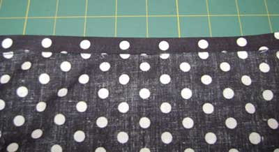 Fold back the top of the lining