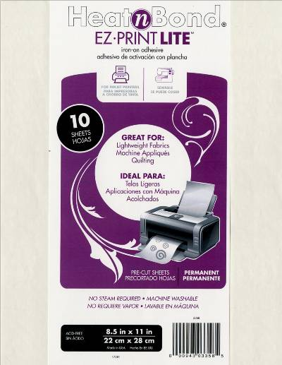 HeatnBond EZ PRINT LITE iron-on adhesive sheets - Click Image to Close