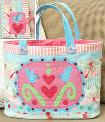 Three Sweet Bluebirds Bag and Needlecase Pattern - Click Image to Close