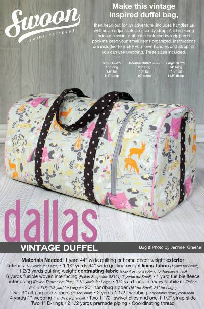 Dallas Vintage Duffel Pattern * - Click Image to Close