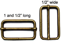 "Metal Slider Measuring 1 and 1/2"" in Antique Brass"