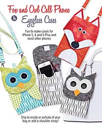 Fox and Owl Cell Phone & Eyeglass Cases pattern by Cotton Ginnys