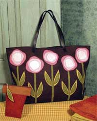 Folk Art Flower Tote Pattern in Wool Felt