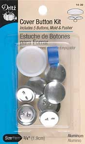 "Cover Button Kit Size 3/4"" 5/Pkg"
